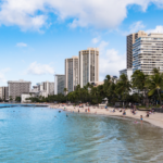 Waikiki beach hotels on the ocean